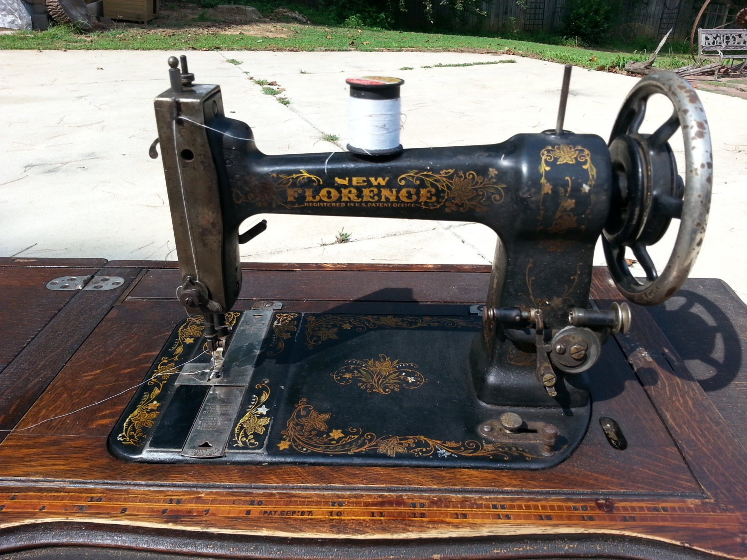 Antique Treadle Sewing Machine New Florence Brand