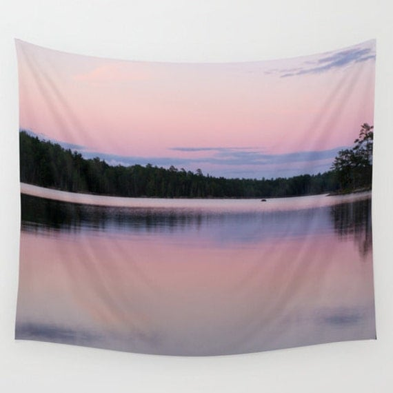 Wall Tapestry, Pink and Purple, Sunset Photography, Boundary Waters, Lake Images, Pastel Colors, Indoor Art, Outdoor Wall Decor, Minnesota