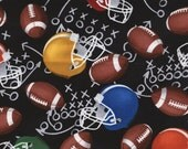 SALE Football Helmets Fabric Half Yard or By The Yard; C3915; Football Fabric by Timeless Treasures; Quilt, Craft, Apparel, Decor