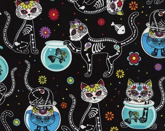 Day of the Dead Kitty Fabric Fat Quarter, Third Yard, Half Yard, or By The Yard; C4159; Timeless Treasures; Cat Fabric; Novelty Fabric