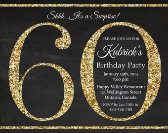 60th birthday invitation. Gold Glitter Birthday Party invite. Adult Surprise Birthday. Elegant. Printable digital DIY.