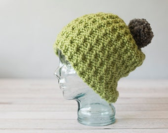 Green Knit Slouch Hat - READY TO SHIP