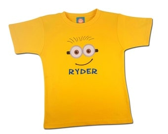 Boy's Yellow Friendly Face Shirt with Embroidered Name - #3