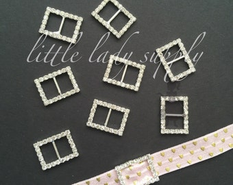 Silver Rectangle Buckle Slider, Ribbon Slider, Buckle, Invitations, wholesale, napkin ring, hair bow, shoe clip