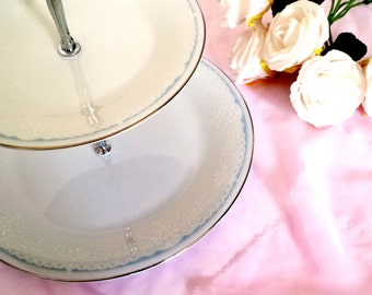 Vintage 2 Tier Cake Stand - Two Tier Stand, High Tea Party, White Cake Stand