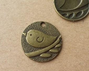 10 pcs 25mm Antique Bronze Brass Vintage style lovely Bird Charm Pendant pendantshs ABb004-2