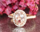 Halo Diamond and Morganite Engagement Ring in 14k Rose Gold 9x7mm Oval Peach Pink Morganite Ring Pave Diamond Wedding Band