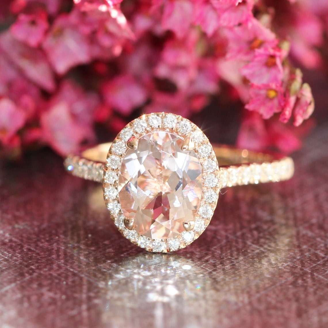 Halo Diamond And Morganite Engagement Ring In 14k Rose Gold