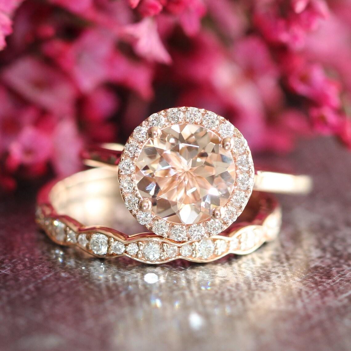 rose gold morganite wedding set diamond scalloped wedding band. Black Bedroom Furniture Sets. Home Design Ideas