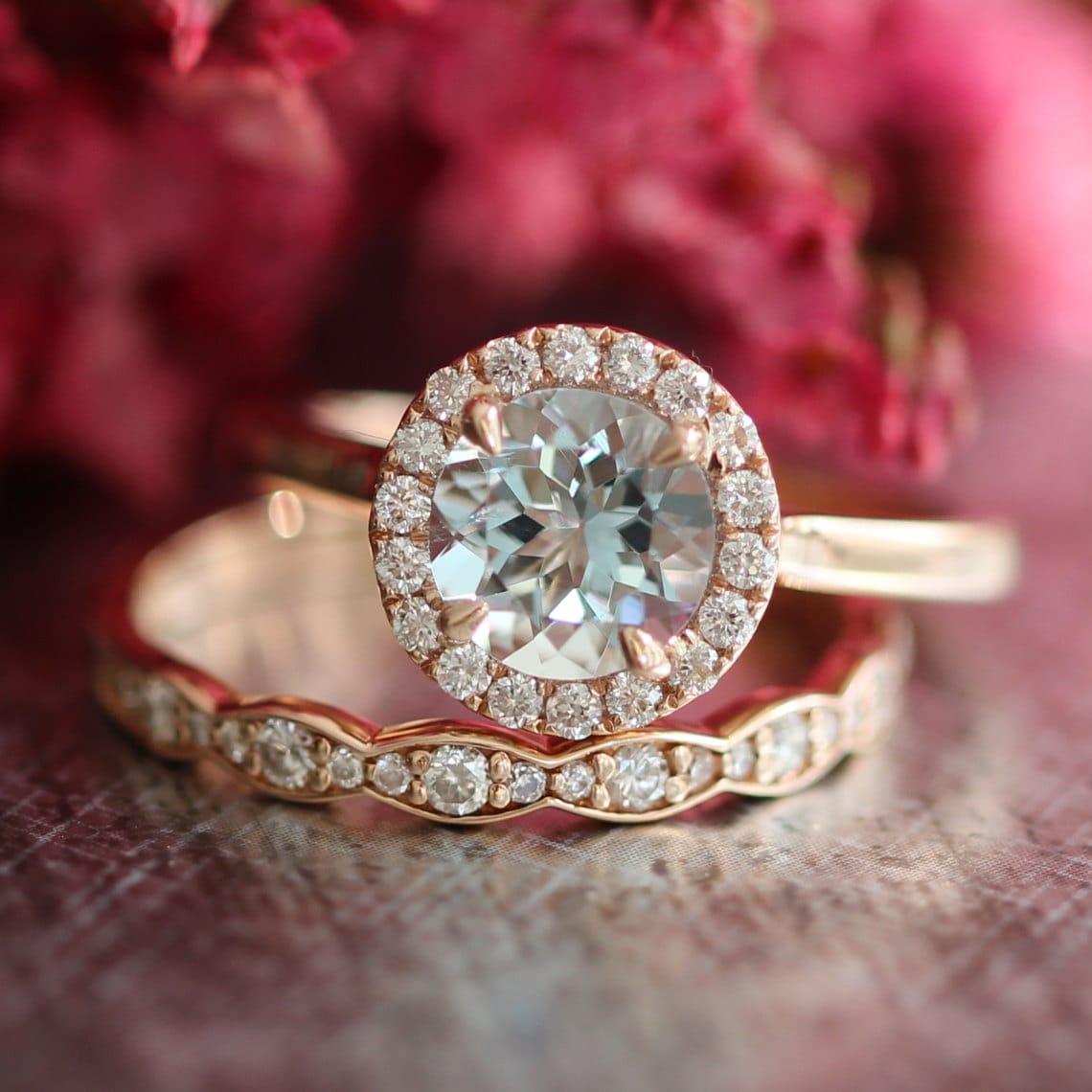 rose gold aquamarine wedding set diamond scalloped wedding. Black Bedroom Furniture Sets. Home Design Ideas