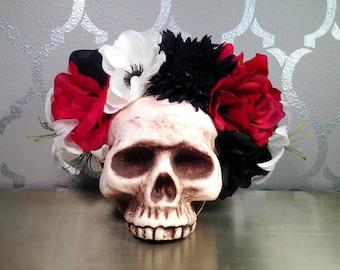 FLOWER CROWN Red Black and White Flower Headband Frida Kahlo Sugar Skull