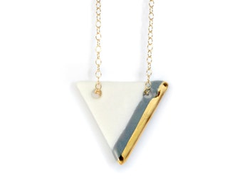 gray triangle porcelain necklace, handmade gold dipped porcelain necklace