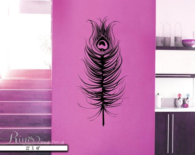 Peacock feather Wall Decal - Vinyl art sticker