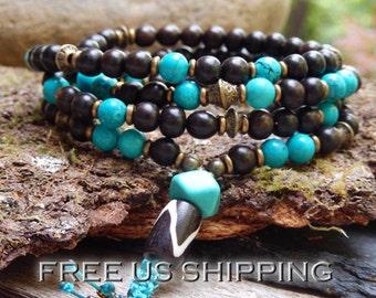 Turquoise & Ebony Mala, Yoga Wrap Bracelet, Meditation Necklace, 108 Prayer Beads, 5th Chakra, Buddhist Mala, Reiki infused