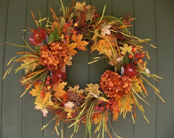 Autumn Wreath with Hydrangaes and Berries