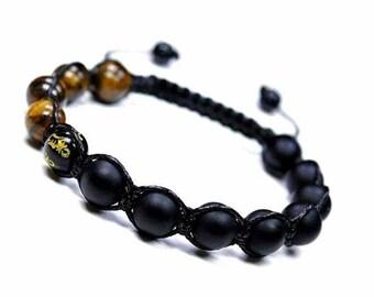 10 mm Matt Black Bead Bracelet, Shamballa Bracelet Natural Stone, Tiger Eye Shamballa Bracelet,Black Shamballa Jewelry Bracelet,Mantra Beads
