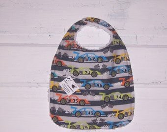 SALE!!!  Race Car Toddler Bib !!!  FREE SHIPPING !!!!!!