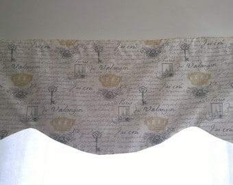 Scalloped Valance, Off white and Natural valance, scalloped window valance with french style fabric, Shaped valance,