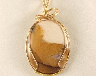 White, Tan and Rust Gem Stone Pendant with Gold-Plated Wire-Wrap