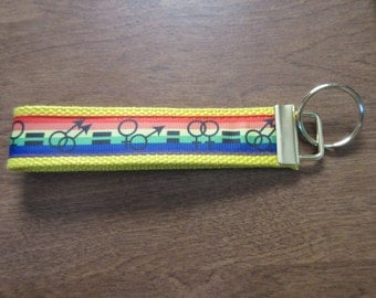Gay Pride Marriage Equality Key Chain Wristlet Key Fob Zipper Pull