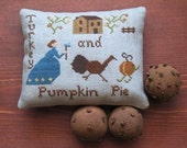Primitive Cross Stitch Sampler Pattern Turkey and Pumpkin Pie