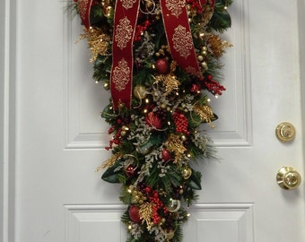 Swag, Holiday Decoration, Christmas Swag, Large Burgundy Swag, Vertical Swag,   Lighted Swag,