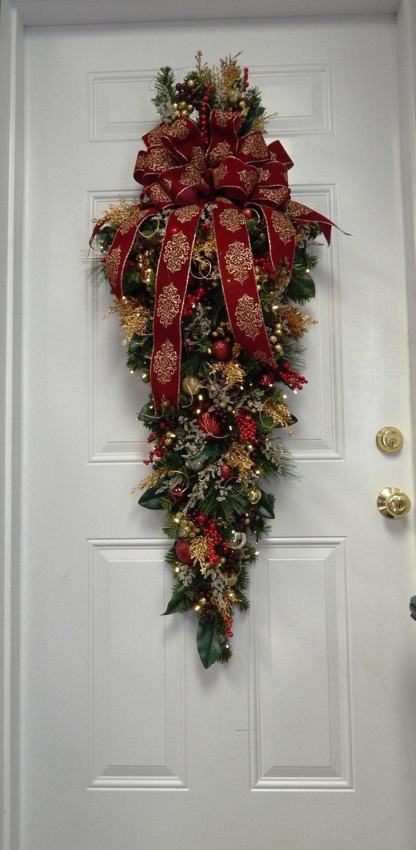 Swag holiday decoration christmas swag large burgundy swag for Large christmas decorations