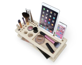 Kennedy Beauty Station | Daily Make-up Organizer - Gift for Her - Bamboo Makeup Brush Eyeliner Pencil Blush iPad Holder  - Fast Shipping