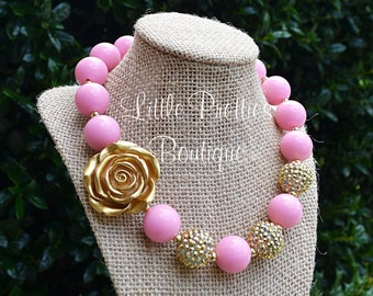 Pink and Gold Bubblegum Necklace, Chunky Necklace, Statement Necklace, Children's Necklace, Girl's Necklace, Chunky Bead Necklace, BN15
