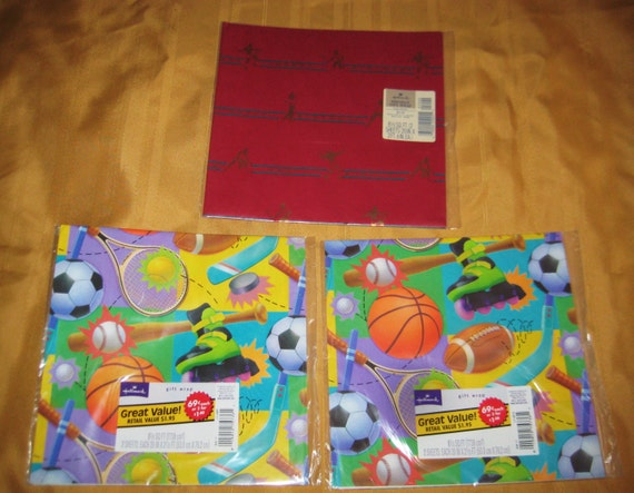 Vintage Book Cover Wrapping Paper : Vintage lot of packs hallmark sports themed gift wrap