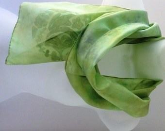 Pale green scarf, hand painted silk scarf