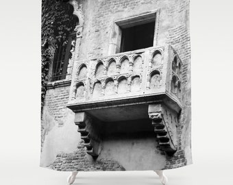 Shower Curtain - Juliet's Balcony - Romeo and Juliet - Italy Shower Curtain - Teen Shower Curtain - Girls Shower Curtain - Black and White