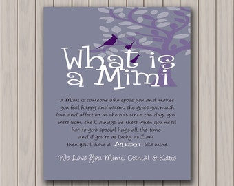 Mimi Gift - We Love You Mimi - Personalized Art Print - Customize with Any Wording of Your Choice - Any Color Available