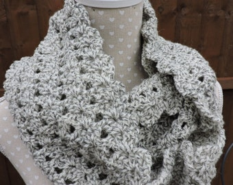 Crocheted  Cowl ,  Snood,  Infinity Scarf in Grey with off white