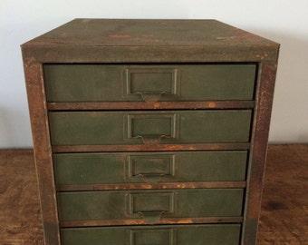 Vintage Industrial 5 Drawer Rusty Green Metal Tool Box/Bolt Bin, Kennedy Kits, tools/jewelry