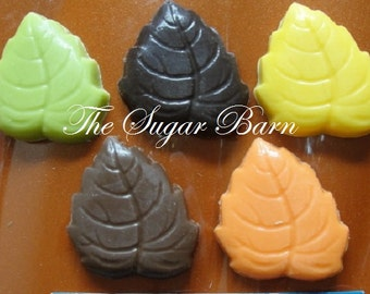 Chocolate LEAF Cupcake Toppers*2 Dozen*Chocolate Bites*Fall Edible Leaves*Fall Harvest Party*Thanksgiving*Place Setting