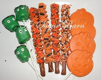 HALLOWEEN CHOCOLATE Party Pack*2 Dozen*Monster Marshmallows*Pumpkin Lollipops*Halloween Pretzels*Beggar's Night*Halloween Birthday