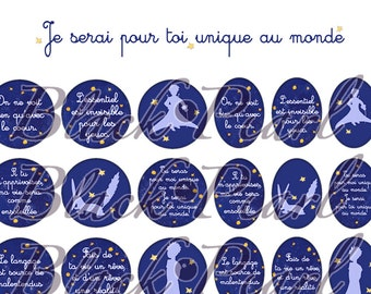I'll be for you unique in the world - digital images for cabochons - 60 images Page - the little Prince