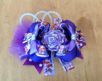 Big Boutique Stacked Hair Bow, Sofia Purple Stacked Hair Bow