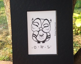 Pen and Ink Illustration, Pen and Ink Drawing, Owl Drawing, Owl Illustration