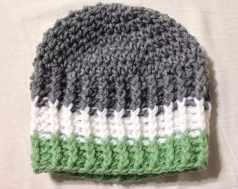 Crochet Baby hat green, white & grey