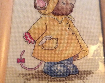 Mouse in Yellow Raincoat Finished Completed & Framed Cross Stitch
