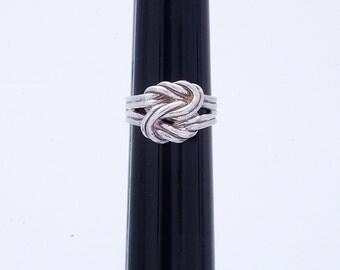 "Vintage Sterling Silver Weaved, Interesting  Sz 8.5"" Ring 6.6g U3559"