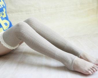 35% off-HANDMADE - Khaki Boot Socks Tall Boot Socks Leg Warmers Knit Boot Socks Knee Socks Womens Lace Socks Starsocks 1111
