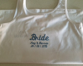 Personalised embroidered 'Bride' jersey vest top