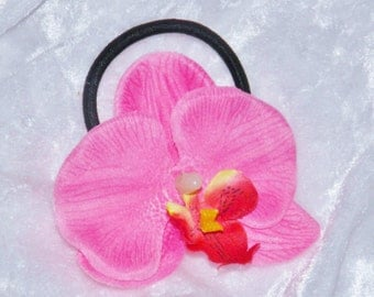 Silk Orchid Flower Pony Tail Holder Elastic