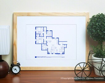 Friends TV Show Floor Plan - Blueprint Poster for Apartment of Phoebe Buffay - Wall Art - Monica, Rachel, Chandler, Joey