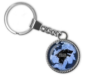 Game Of Thrones Key Chain, House Stark Sigil Direwolf, Winter Is Coming Image Pendant Handmade