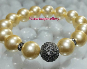 Victorian/estate style 3.10ct pave diamonds beads south sea pearls elastic bracelet 925 silver 14kt gold plated.