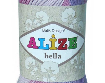 Alize Bella Batik Design High Quality Cotton Turkish Yarn for Knit and Crochet. Pack of 5 ( Five ) Skeins. Free Shipping